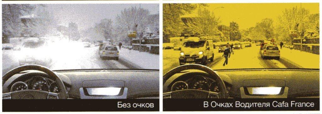 Как видит водитель в очках и без